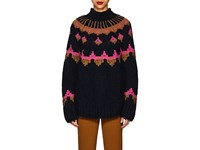 A.L.C. Folkloric Wool Blend Oversized Sweater Navy