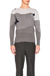 Thom Browne Sea Animal Cashmere Intarsia Sweater In Gray Stripes Gray Stripes