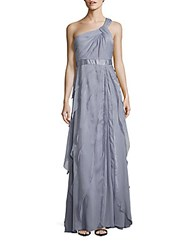 Adrianna Papell Pleated One Shoulder Dress Silver Grey