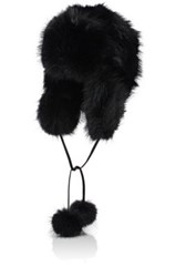 Barneys New York Women's Fur Trapper Hat Black