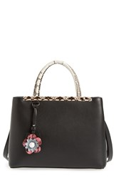 Fendi 'Petite 2Jours' Genuine Snakeskin Trim Leather Shopper