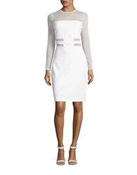 Bailey 44 Dionne Mesh Accented Long Sleeve Illusion Sheath Dress Chalk