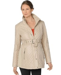 A Pea In The Pod Maternity Belted Quilted Jacket Cream