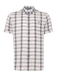 Peter Werth Men's Worker Linen Mix Checked Shirt Pale Pink Pale Pink