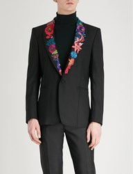 Paul Smith Floral Embroidered Wool Jacket Black