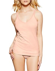 Fine Lines Pure Cotton Thin Strap V Neck Camisole Peach Nectar