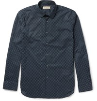 Burberry Slim Fit Printed Cotton Shirt Navy