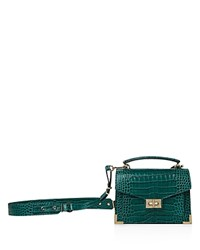 The Kooples Emily Croc Embossed Leather Mini Crossbody Green