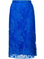Tome Lace Straight Skirt Blue