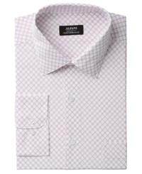 Alfani Men's Classic Fit Performance Stretch Easy Care Diamond Dress Shirt Created For Macy's Pink White