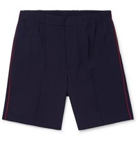 Alexander Mcqueen Piped Crepe Shorts Navy