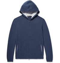 Loro Piana Stretch Cotton Jersey Zip Up Hoodie Storm Blue