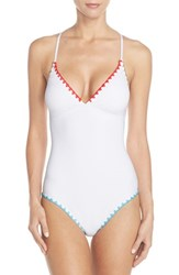 Women's Lucky Brand Embroidered One Piece Swimsuit