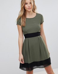 Wal G Skater Dress With Stripe Waistband And Trim Khaki Black Green