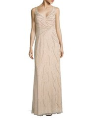 Aidan Mattox Sleeveless Beaded Gown Champagne