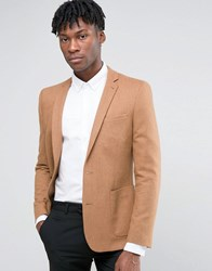 Asos Skinny Blazer In Camel Wool Mix Camel Tan