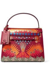 Valentino My Rockstud Large Patchwork Leather Tote Red