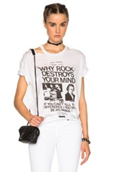 R 13 R13 Ripped Neck Boy Tee In White
