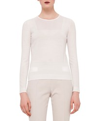 Akris Punto Sheer Panel Long Sleeve Top Cream Ivory