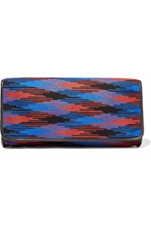 M Missoni Leather Trimmed Woven Clutch Blue