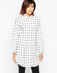 Only Bird Print Shirt Dress Cloud Dancer W. Aop White