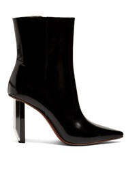 Vetements Reflector Heel Leather Ankle Boots Black White