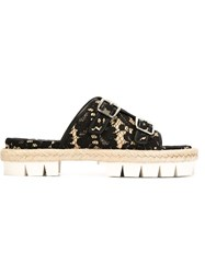 Nao21 Lace Double Buckle Sandals Black