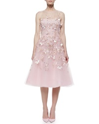 Oscar De La Renta Strapless Beaded And Feather Cocktail Dress Pale Pink