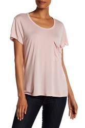 Haute Hippie Solid Rolled Pocket Tee Pink