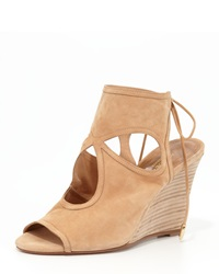 Aquazzura Sexy Thing Suede Wedge Sandal Nude Brown