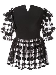 Christian Siriano Embroidered Floral Blouse Black