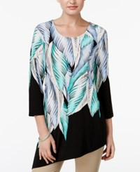 Jm Collection Leaf Print Asymmetrical Tunic Only At Macy's Leaf Relief