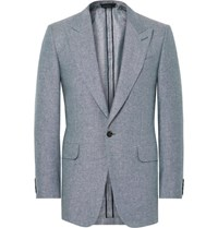 Dunhill Blue Slim Fit Slub Silk And Linen Blend Blazer Blue