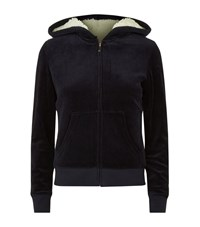 Juicy Couture Velour Faux Fur Lined Hoodie Female Navy