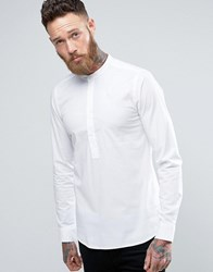 Only And Sons Skinny Half Placket Grandad Shirt White