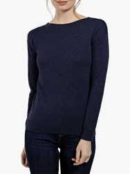Fat Face Zoe Rib Trim Knit Jumper Navy