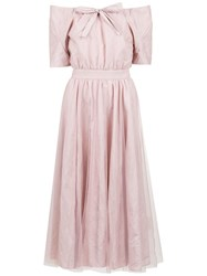 Gloria Coelho Off Shoulder Belted Dress Pink And Purple