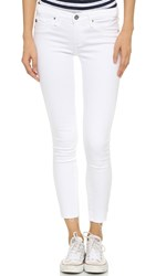Ag Jeans Raw Hem Legging Ankle Jeans White