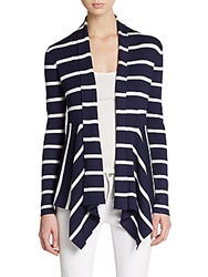 Saks Fifth Avenue Black Striped Open Front Cardigan Navy White