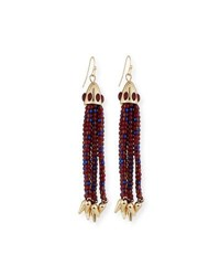 Lulu Frost Beaded Red Tassel Drop Earrings Dark Red