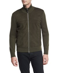 Tom Ford Suede Front Merino Wool Jacket Olive