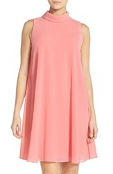 Vince Camuto Women's Mock Neck Chiffon Trapeze Dress Guava