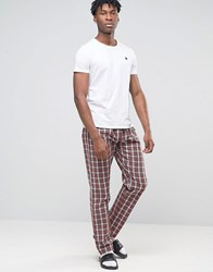 Esprit Lounge Pants In Woven Check In Regular Fit Red