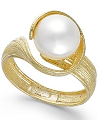 Macy's Cultured Freshwater Pearl Twist Ring In 18K Gold Over Sterling Silver 8Mm