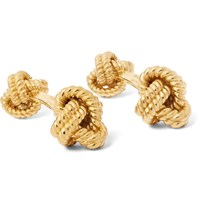 Tom Ford Gold Tone Silver Knot Cufflinks Gold