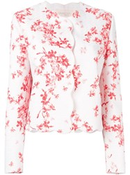 Giambattista Valli Scalloped Trim Floral Jacket Pink And Purple