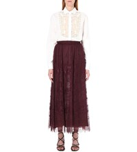 Valentino Floral Lace Maxi Skirt Burgundy