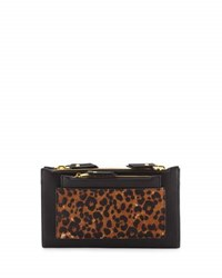 Neiman Marcus Leopard Print Double Zip Clutch Bag Natural Bl