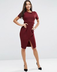 Asos Double Layer Textured Wiggle Dress Oxblood