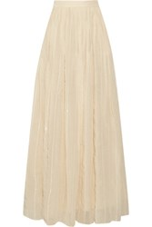 Brunello Cucinelli Sequined Pleated Cotton Blend Maxi Skirt Ecru